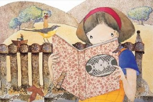 Girl With Book and Bird